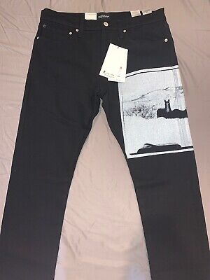 NEW Calvin Klein Andy Warhol Landscapes Slim Stretch Jeans Mens 33x32 Horses