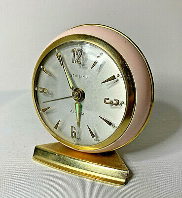 West German Vintage Stirling Alarm Clock Radium Hands 1960s Pink