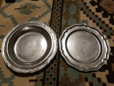 """2 Pewter Plates Bowels Dishes RWP Wilton Armetale Columbia PA USA 10.5"""""""
