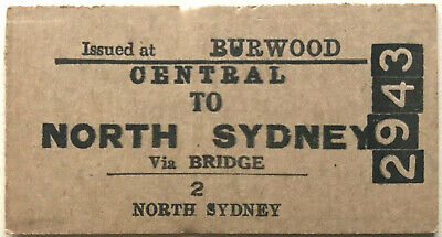 NSW Ticket - CENTRAL to NORTH SYDNEY (Iss. at Burwood) - Single