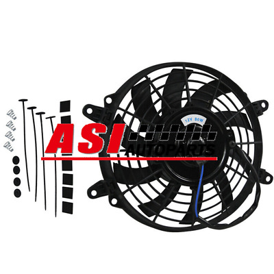 """Universal 12"""" Inch 80W Radiator Cooling Bow Blade Thermo Fan + Mounting Kits"""