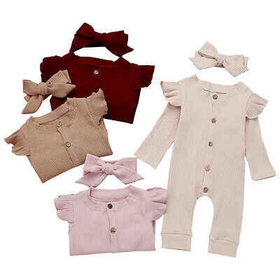 Cute Newborn Infant Baby Girl Bow-knot Hearwear Romper Jumpsuit Outfits Ruffles