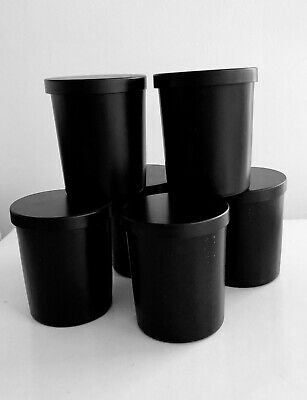 CANDLE MAKING - NEW SET OF 6 X 7oz BLACK CANDLE CONTAINER WITH LID