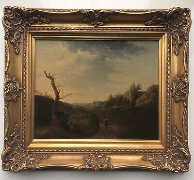 FRENCH SCHOOL (Manner of Corot) 1825 Antique Oil Painting Landscape with Figures
