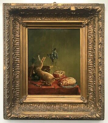 ENGLISH SCHOOL Original Antique Oil Painting on Oak Panel Still Life of Game