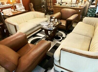 Original 1920's Pair of Art Deco Club Chairs with Leather Upholstry