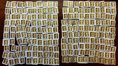 GB 200 1st Class Gold unfranked Security Stamps on paper  Face £140