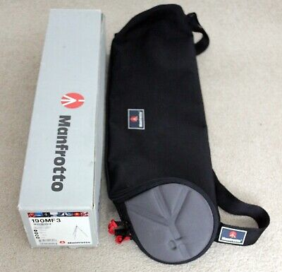 Manfrotto 190MF3 carbon fibre and magnesium tripod with bag & strap, boxed