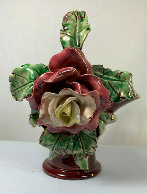Vintage 1950s Australian Hand Made Pottery Basket with Applied Rose