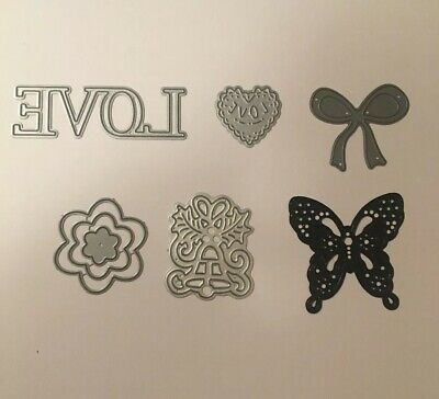 Tatterered Lace (?) Die Bundle x6 Bow, Butterfly, Love, Flower, Heart, Christmas