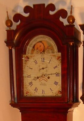 "Antique Mahogany Moon Phase  "" Plymouth ""  Longcase / Grandfather Clock"
