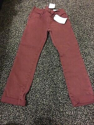 Next Bnwt Twill Trousers Stretch Ajustable Wait Burgady Colour Age 4-5