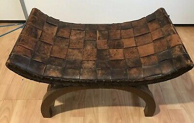 Antique Early 19th Century Oak X Frame Stool, with Flat Leather Seat
