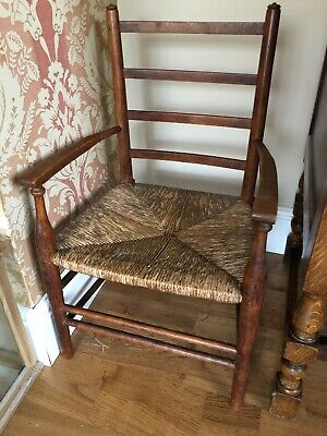 Lovely Vintage Child's Rush Seat Ladderback Rustic Farmhouse Chair.