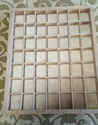 Small Wooden Printers Tray - Keepsakes/Old Curios - 49 compartment