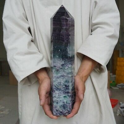 13.53LB Natural Rainbow Fluorite Quartz Crystal Point Tower Polished Healing