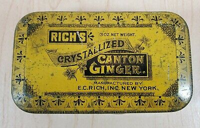 Rich's Crystallized Canton Ginger Vintage Tin E.C Rich NY Tin Yellow Decor