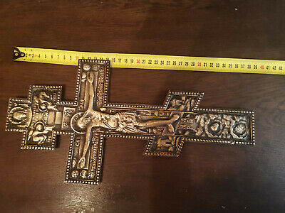 ANTIQUE 19th BIG SIZE RUSSIAN ORTHODOX BLESSING CROSS BRASS ICON CRUCIFIX