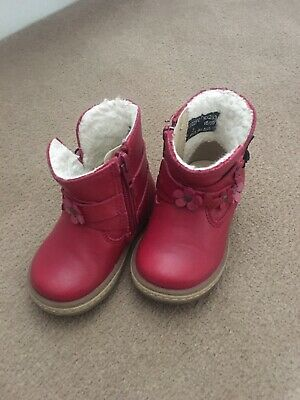 Next Girls Infant Pink Leather Boots Winter Chelsea Size 3