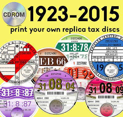 print your own REPRODUCTION REPLICA ROAD TAX DISC 1987-1993 CDROM Customise