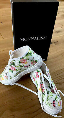 Monnalisa Flower Trainers Shoes Size 29 UK 10.5 Girls Designer In Vgc No Marks