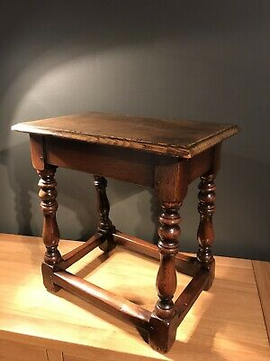 Antique Victorian Oak Joint Stool-side Lamp Table-vintage-turned Leg