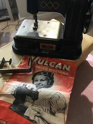 Early Vintage Vulcan Miniature Sewing Machine 1940's With Clamp And Manual
