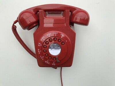 Gpo 741 Lacquer Red Rotary Pulse Dial Vintage Wall Telephone (3/4)