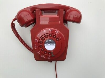 Gpo 741 Lacquer Red Rotary Pulse Dial Vintage Wall Telephone (4/4)