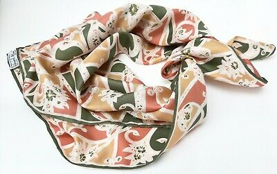 RICHARD ALLAN - Vintage Twill Silk 'Lilies' Square Scarf - Excellent Condition.