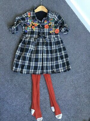 Girls Next Dress Aged 2-3 Years Shirt Dress Black Floral Check Print With Tights