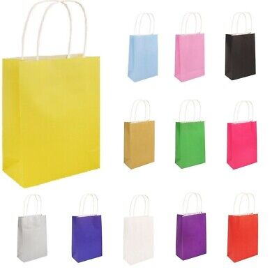 10 Bright PAPER PARTY BAGS Gift Bag With Handles Recyclable Birthday Wedding
