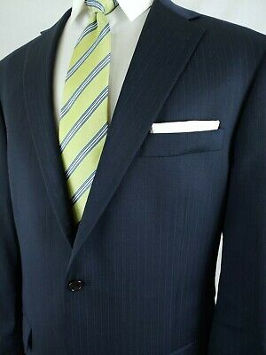 Hart Schaffner Marx Mens Suit Navy Blue Chalk Stripe 2 Piece 2 Button 44L 36x30
