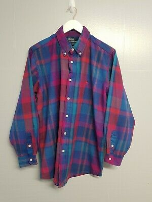 Mens POLO RALPH LAUREN long sleeve check Shirt size large blue purple pink