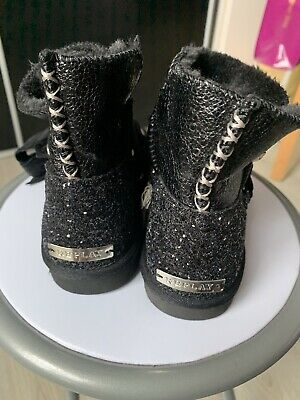 Replay Girls Black Ugg Boots Size 12.5 Brand New