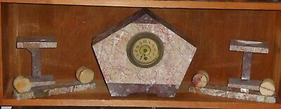 Antique French Art Deco marble clock, pentagonal design, + matching garnitures