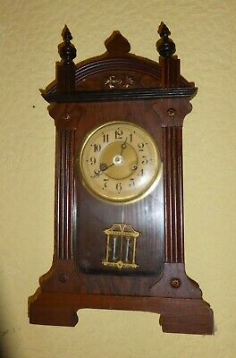Vintage small Vienna-style pendulum-driven wall clock, needs slight attention