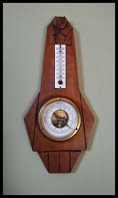 French Art Deco Carved Oak Banjo Wall Barometer & Thermometer
