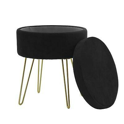 Black Velvet Retro Storage Stool Foot Rest Ottoman with Gold Metal Hairpin Legs