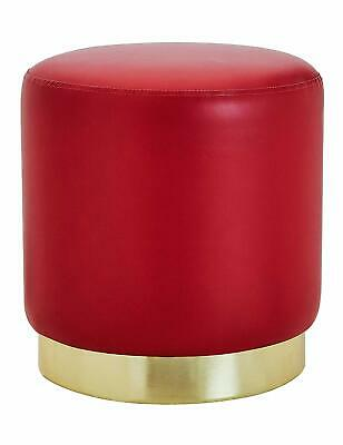 Red Faux Leather Round Retro Ottoman Pouffe Seat Foot Rest Stool Gold Metal Rim