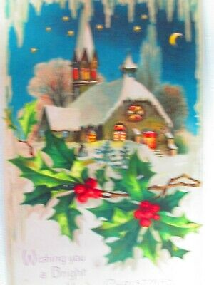 German Winter  Hold To Light Church & Ivy  Die Cut Post Card