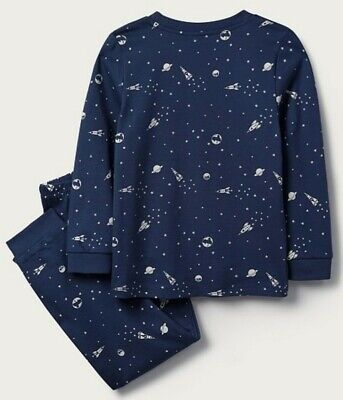 The Little White Company Glow In The Dark Space Pyjamas. 4-5 Years. 100% Cotton