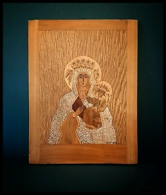 Vintage Inlaid Wood Marquetry Icon Of The Virgin Mary And Jesus - Signed