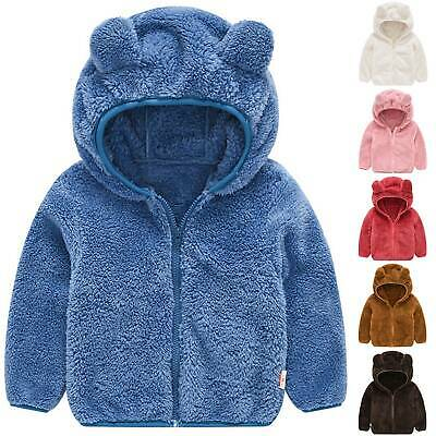 Kids Baby Toddler Girls Warmer Solid Fleece Teddy Bear Hoodie Hooded Jacket Coat