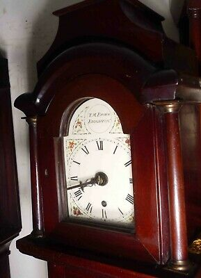 "Antique Slim Mahogany  Case  8 Day ""Brighton "" Longcase Clock  76"" High"