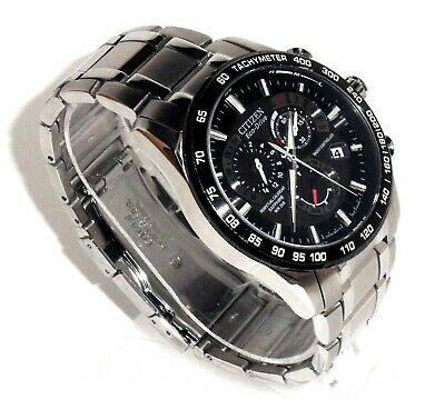 Citizen Mens Eco-Drive $595 Atomic Time Alarm Chrono Perpetual Watch, At4008-51E