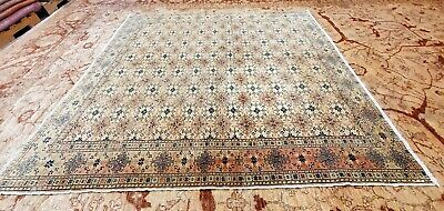 """Exquisite Antique Cr1900-1939s Muted Dye Wool Pile Hereke Area Rug 6'5"""" x 7'"""