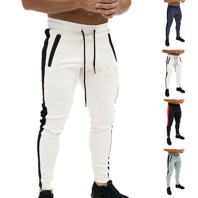 Homme Cordon Skinny Crayon Pantalon Jogging Fitness Sports Long de