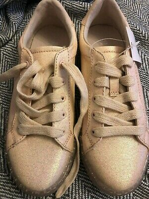 Girls pink glitter trainers size 13 blush party new shoes  NEW sparkle smart