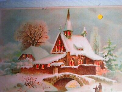 Beautiful Hold To Light Church And Rectory  Die Cut Card
